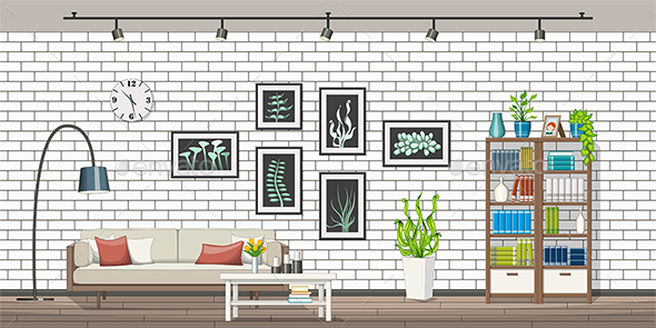 Interior Equipment of a Modern Living Room - Miscellaneous Vectors