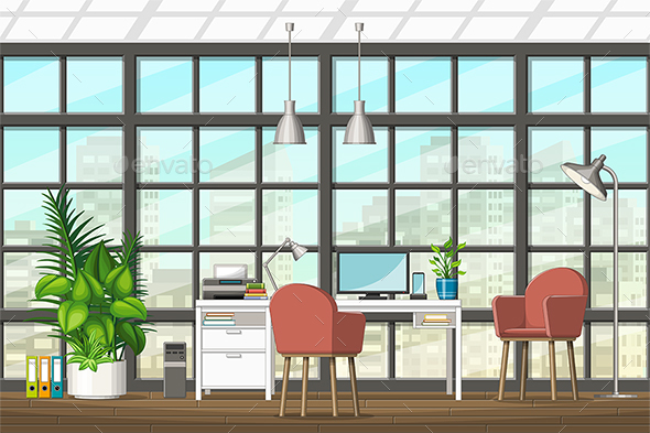 Interior Equipment of a Modern Home Office - Miscellaneous Vectors