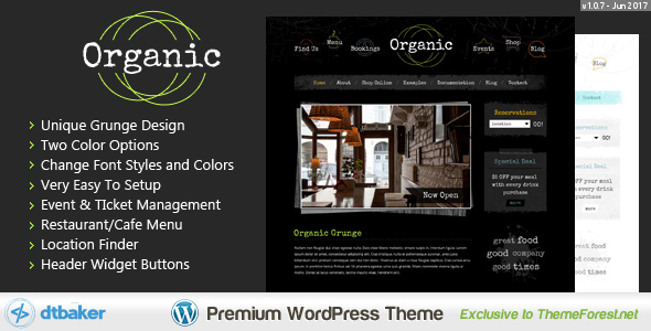 Organic Grunge - WordPress Cafe & Restaurant Theme