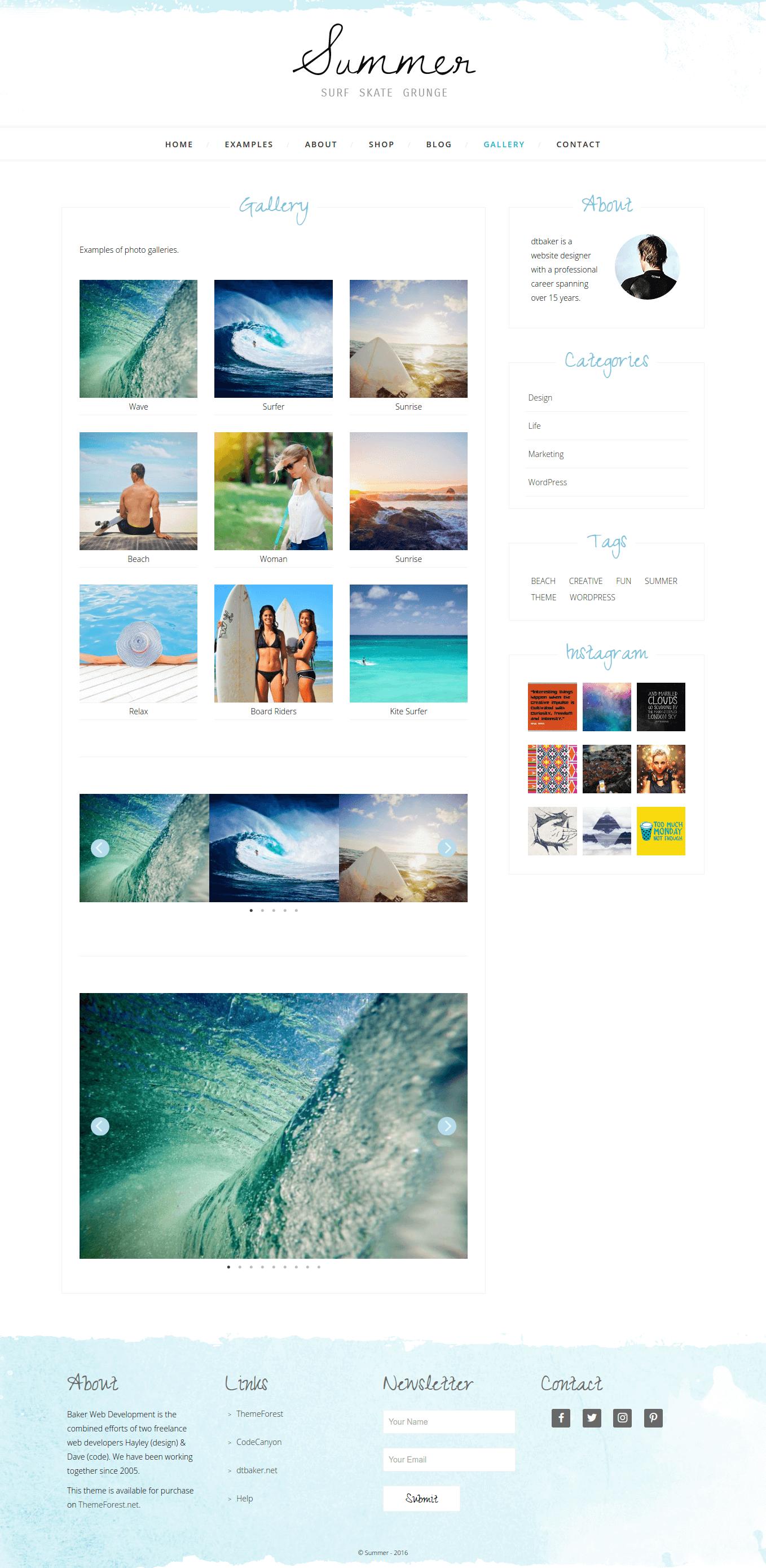 Summer Surf Beach Grunge Blog Shop