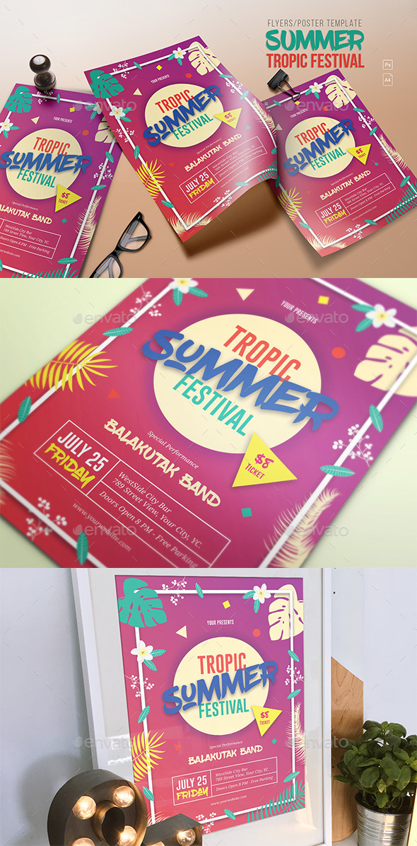 Summer Tropic Festival Flyer - Clubs & Parties Events