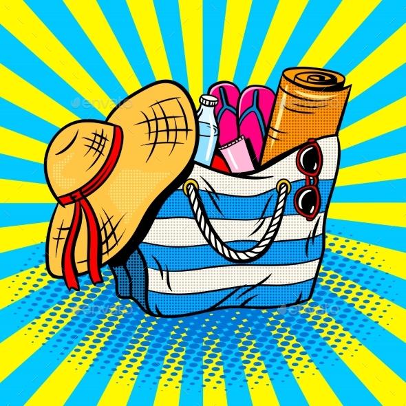 Beach Bag Pop Art Vector Illustration - Objects Vectors