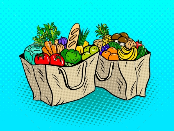 Eco Food in Paper Bags Pop Art Vector Illustration - Food Objects