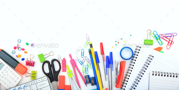 Office - school supplies on white background - Stock Photo - Images