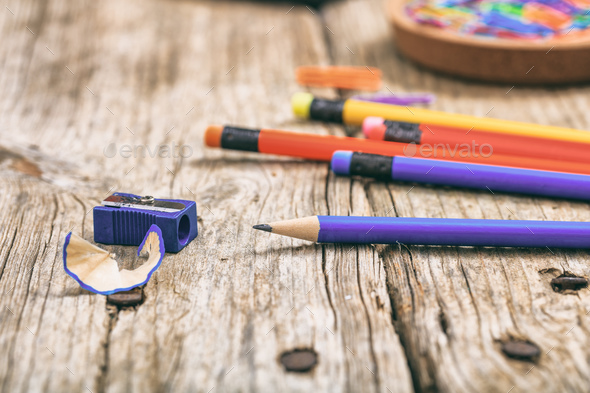 School supplies on wooden background - Stock Photo - Images