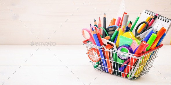 School shopping basket on white background - Stock Photo - Images
