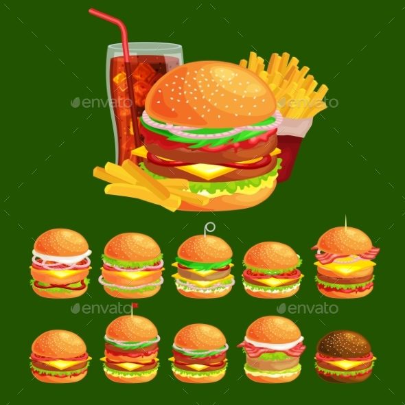 Set of Tasty Burgers Grilled Beef and Fresh - Religion Conceptual
