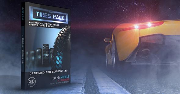 3D HD Models tires pack for Element 3D v. 2.2 - 3DOcean Item for Sale