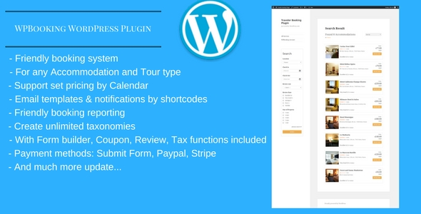 WPBooking - Accommodation and Tour booking system - WordPress Plugin - CodeCanyon Item for Sale