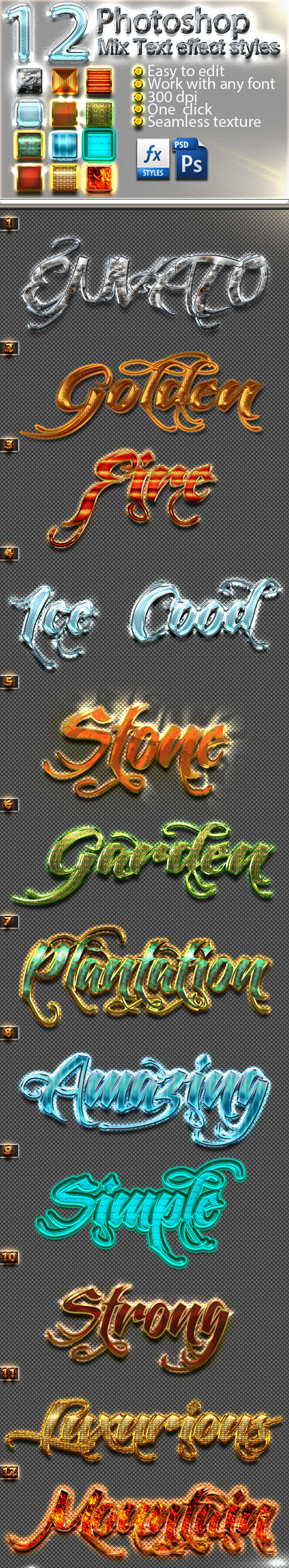 12 Photoshop Mix Text Effect Styles Vol 33 - Text Effects Styles