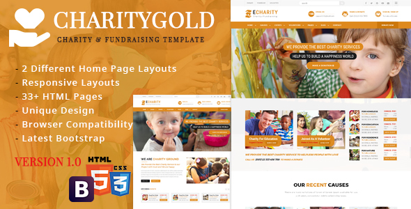 CharityGold – Charity and Fundraising HTML5 Responsive Template