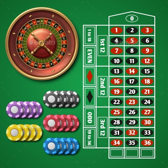 Online Casino Roulette and Gambling Table - Miscellaneous Vectors
