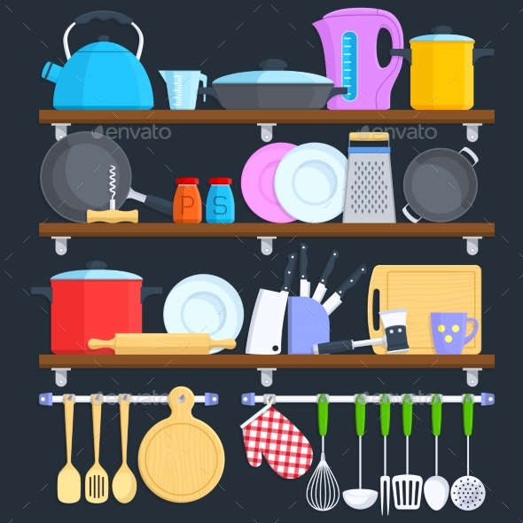 Kitchen Shelves with Cookware and Cooking - Objects Vectors