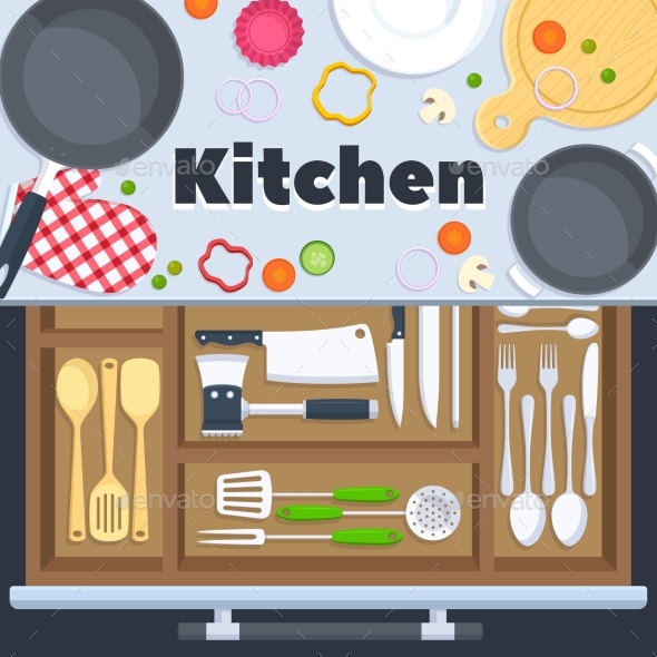 Kitchen Design Vector Background with Cooking - Objects Vectors