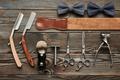 Vintage barber shop tools on wooden background - PhotoDune Item for Sale