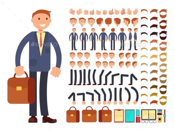 Cartoon Businessman Customizable Vector Character - People Characters