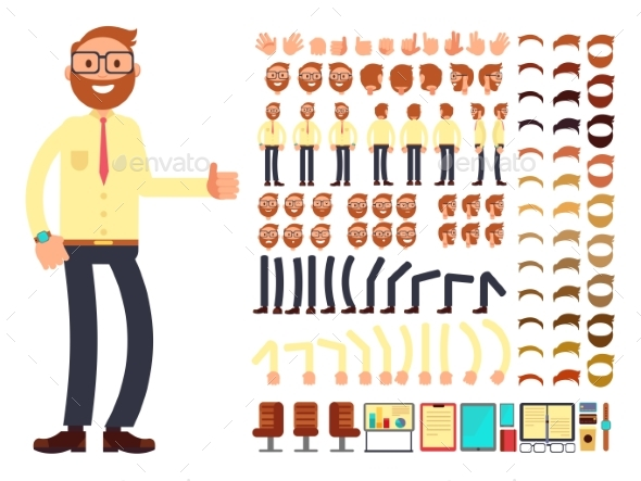 Young Male Businessman Character with Gestures Set - People Characters