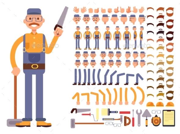 Cartoon Man Construction Worker in Jumpsuit Vector - People Characters