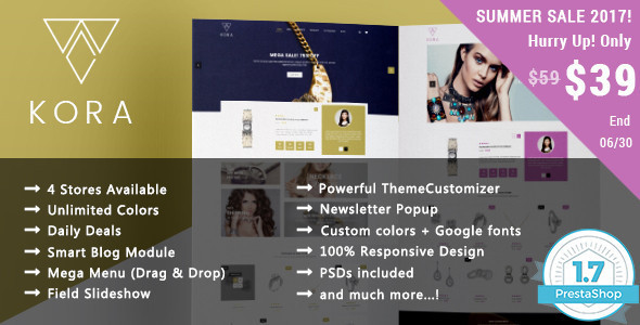 Kora - Jewelry Responsive Prestashop 1.7 & 1.6 Theme - Shopping PrestaShop