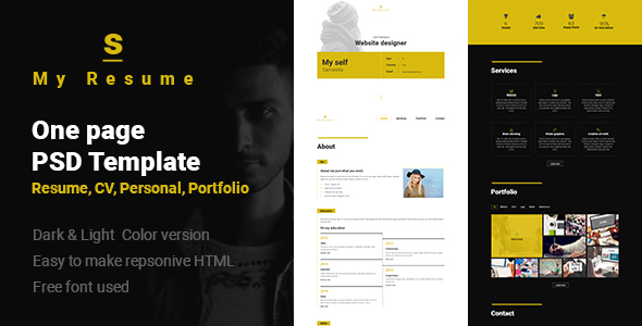 Download S - Resume, Cv, Portfolio One Page PSD Template nulled version