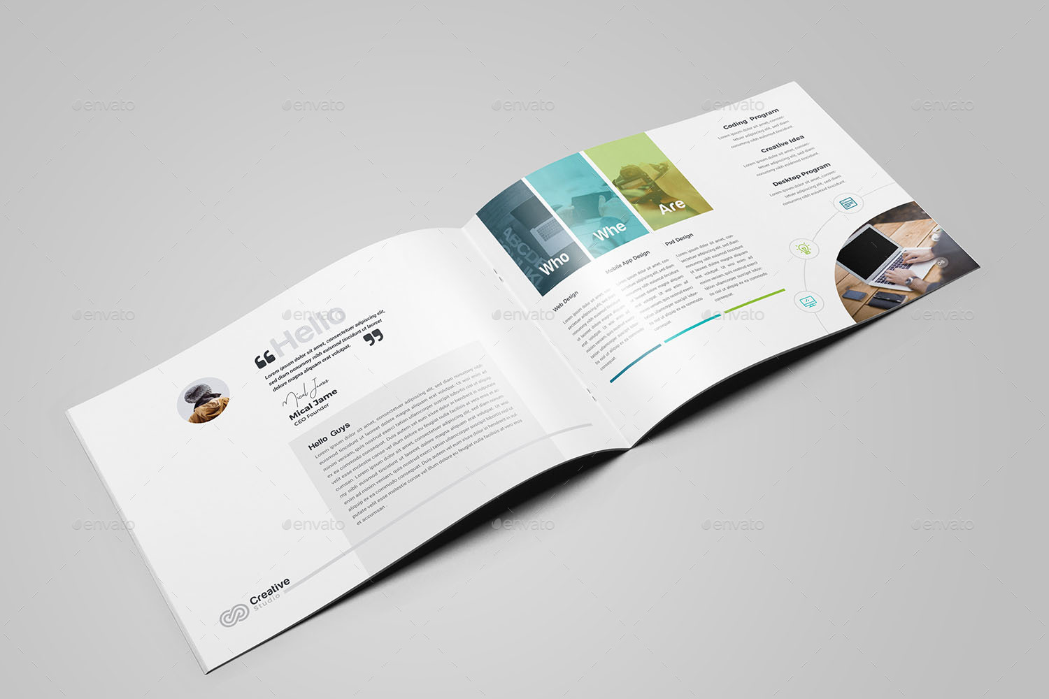 company profile landscape brochure template by generousart