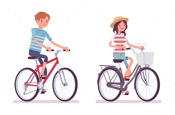 Young Man and Woman Cycling a Bike - People Characters