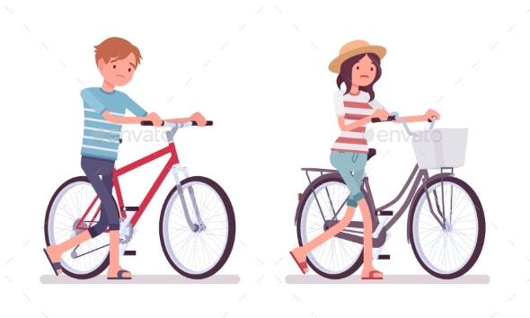 Young Man and Woman, Bad Cyclists - People Characters