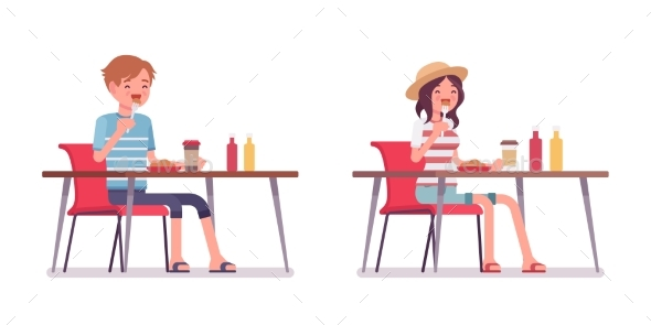 Young Man and Woman Eating - People Characters