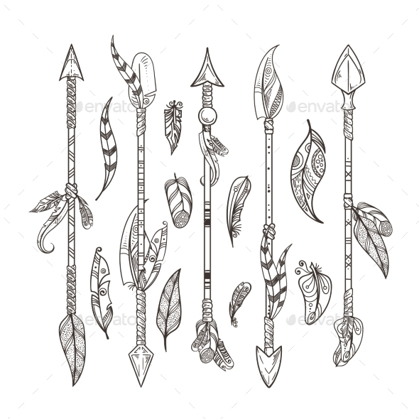 Decorative Arrows and Feathers Set in Boho Style - Miscellaneous Vectors