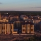 Aerial Shot, Panoramic View of New Brick House in Newly Built Area of the City - VideoHive Item for Sale