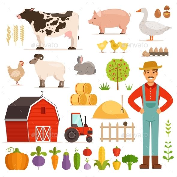 Different Farm Elements. Vegetables, Transport - Miscellaneous Vectors
