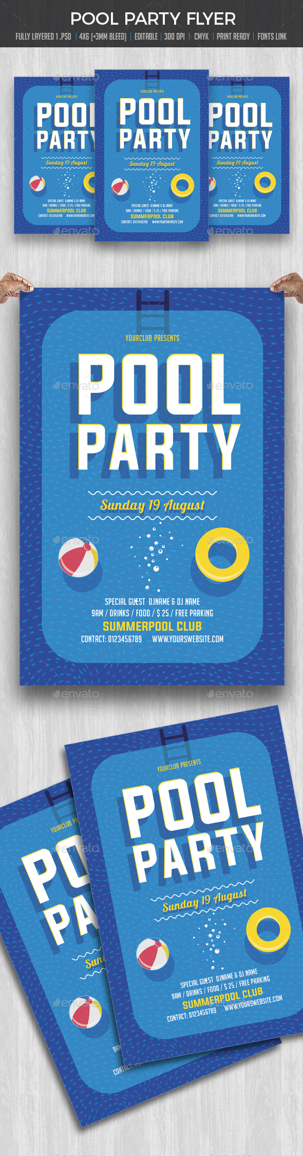 Pool Party / Summer Beach Party - Events Flyers