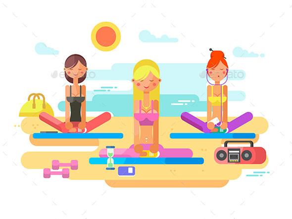 Girls Practicing Yoga - Sports/Activity Conceptual