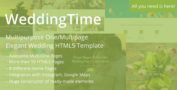 WeddingTime – Multipurpose One/Multipage Elegant Wedding HTML5 Template