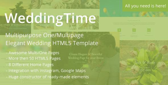 WeddingTime - Multipurpose One/Multipage Elegant Wedding HTML5 Template