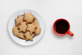 Coffee cup and cookies in plate on white wooden table - PhotoDune Item for Sale