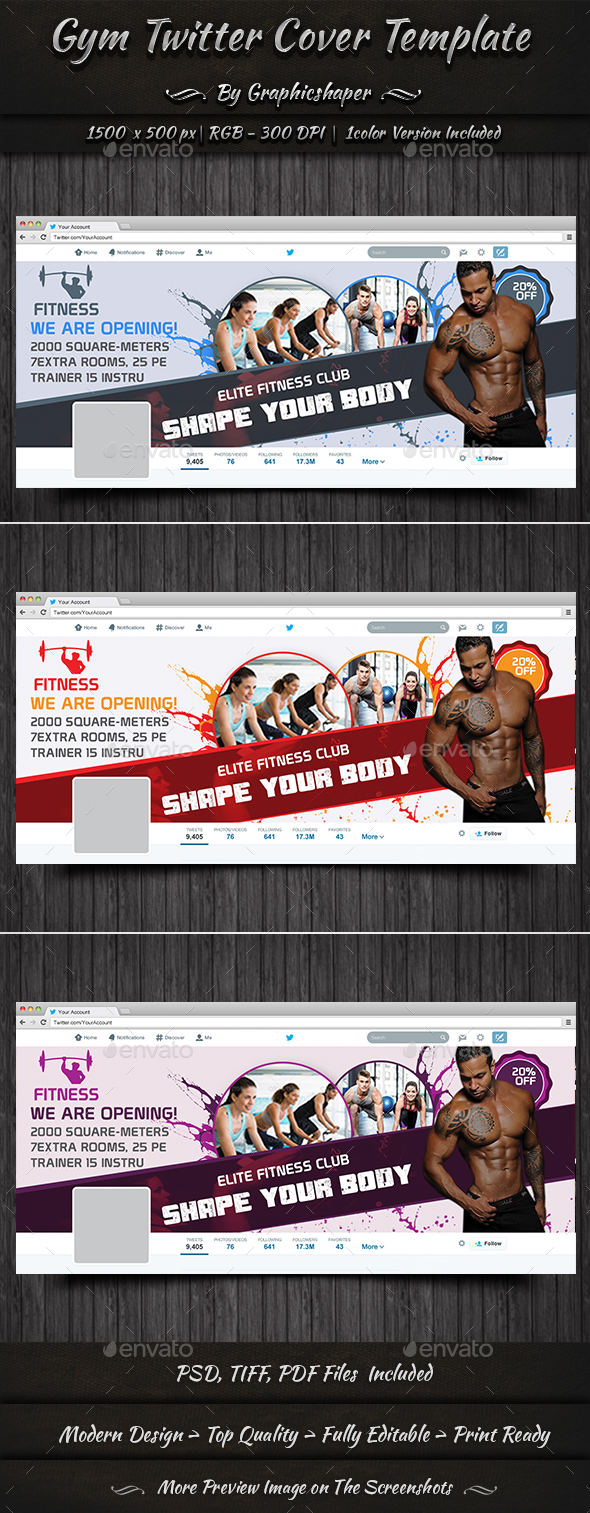 Gym Twitter Cover Template - Twitter Social Media