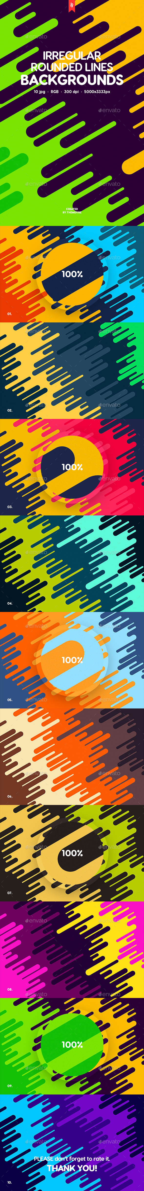 Flat Irregular Rounded Lines Backgrounds - Patterns Backgrounds