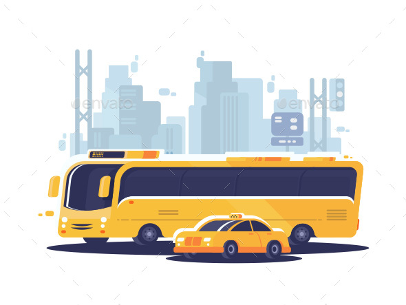 City Public Transport - Objects Vectors