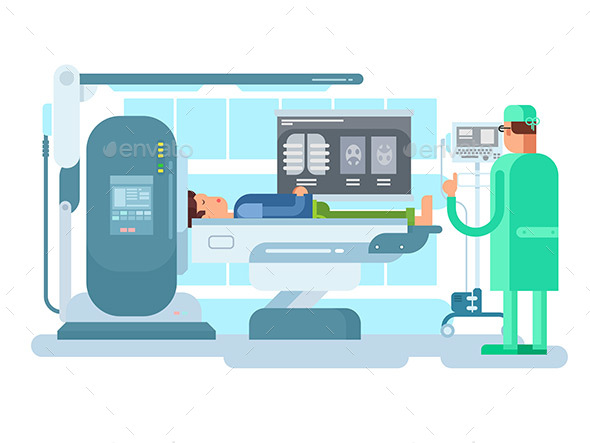Cabinet with an MRI Device - People Characters