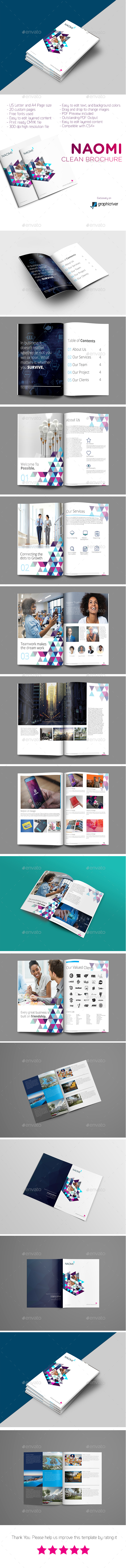 Naomi Clean Modern Corporate Brochure Template - Corporate Brochures