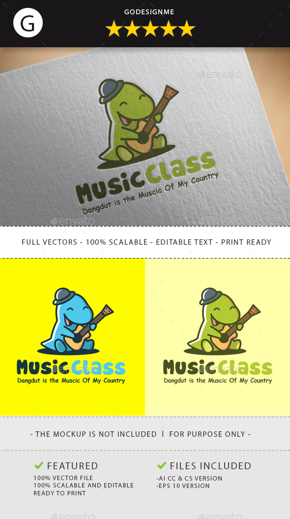 Dino Music Class Logo Design - Animals Logo Templates