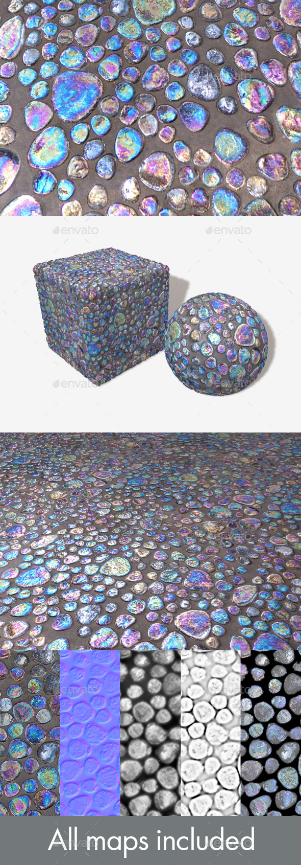 iridescent Pebble Tiles Seamless Texture - 3DOcean Item for Sale