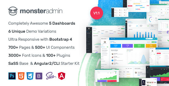 Monster – Most Complete Bootstrap 4 Admin Template + Angular 2/CLI Starter Kit