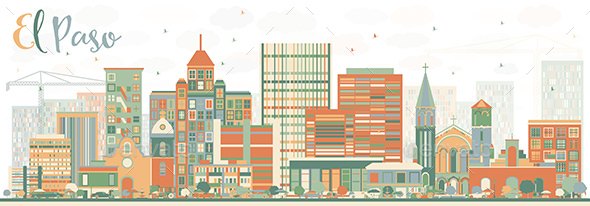 Abstract El Paso Skyline with Color Buildings - Buildings Objects