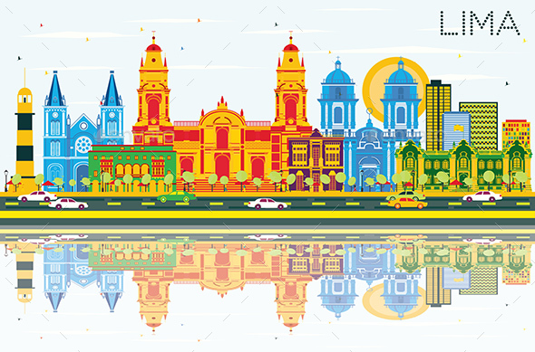 Lima Skyline with Color Buildings, Blue Sky and Reflections - Buildings Objects