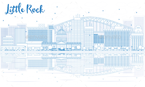 Outline Little Rock Skyline with Blue Buildings and Reflections - Buildings Objects