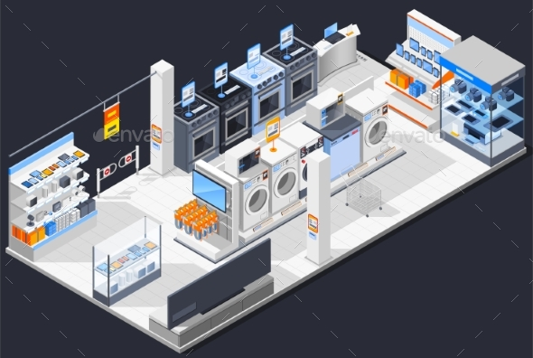 Electrical Shop Isometric Composition - Buildings Objects