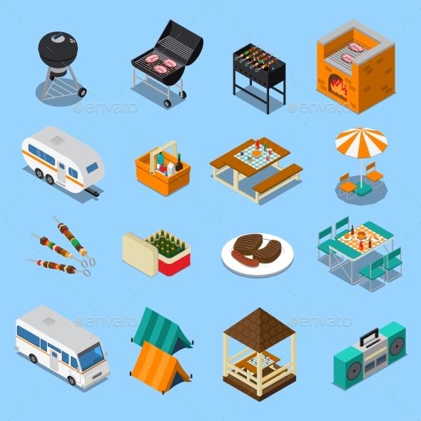 BBQ Picnic Isometric Set - Food Objects