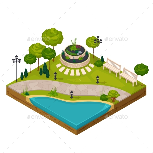 Isometric Fragment of Park Landscape - Miscellaneous Vectors